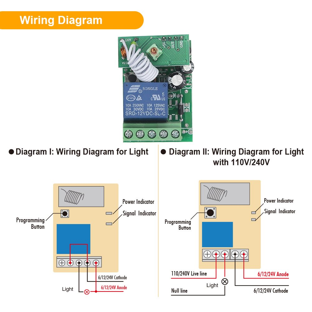 Emylo Dc 12v 1channel 433mhz Rf Wireless Remote Control Switch Relay Wiring Diagram With Transmitter