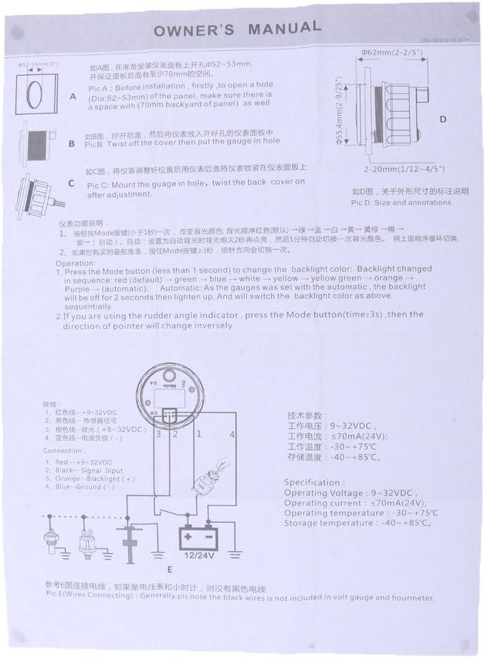 Baosity 52mm 2 Inch Car Boat Marine Voltmeter Gauge Meter Measurement Range 8~16V