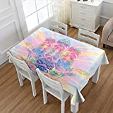 Littletonhome Hamsa Printed Tablecloth Spiritual Energy Flow Aura Inspired Design Harmony Yoga Meditation Theme Flannel Tablecloth Aqua Light Pink Peach 60''x104''