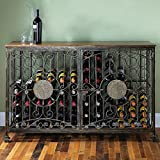 Wine Enthusiast 84 Bottle Antiqued Steel Wine Jail Console, Bronze For Sale