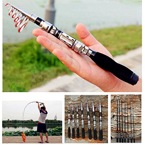 Dyna-Living Fishing Rod Mini Light Children Kids Portable Pocket Carbon Fiber Telescopic Travel Pole for Freshwater Fishing (1.9)