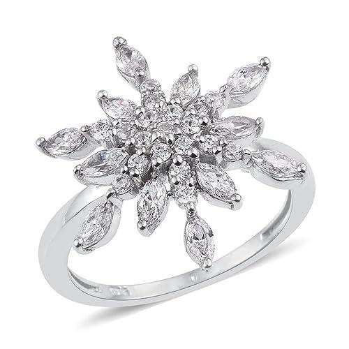 taglia 40 a6d59 c561f Platino argento fiocco di neve anello con Swarovski zirconi ...