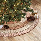 Red and Natural Burlap Khaki Ruffle Christmas Tree Skirt, 50 Inches, Holiday Decoration