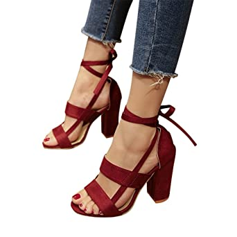 FEITONG Damen Blockabsatz Pumps  High Heel Schuhe  Peep Toe Sandalen Party Bandage Schuhe High Heels (EU:42=...