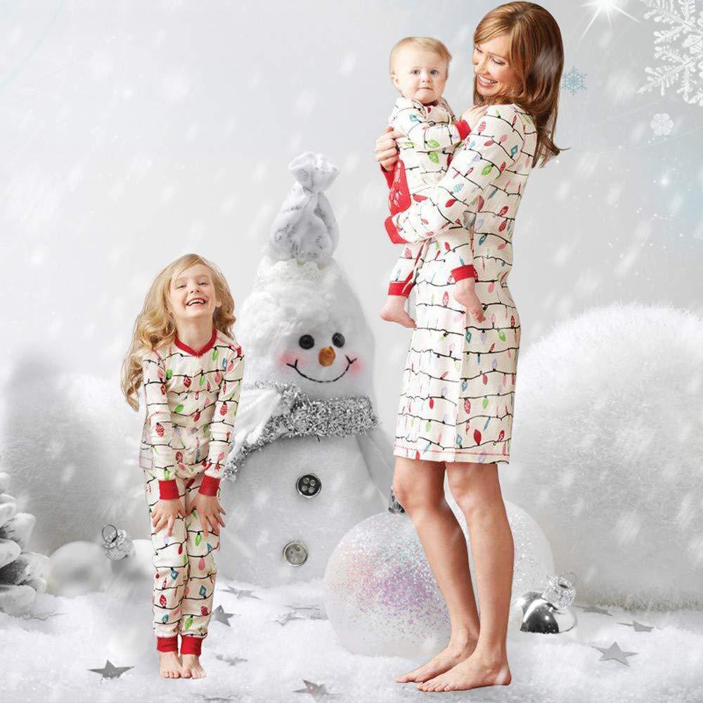 Pijama de la Familia Ropa de Dormir Navidad Set beautyjourney Mono de beb/é reci/én Nacido Mono y Camisa de Jersey para ni/ños Pantal/ón y Mama A Line Party Vestido de c/óctel