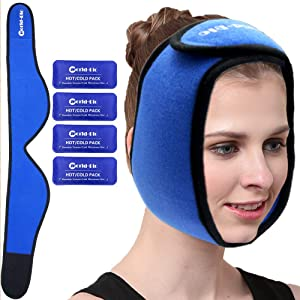 Face Ice Pack for Wisdom Teeth, Jaw, Head and Chin by WORLD-BIO - 4 Reusable Hot & Cold Gel Packs with Adjustable Stretch Wrap Relief for Injuries, Oral and Facial Surgery, Migraine and TMJ Pain