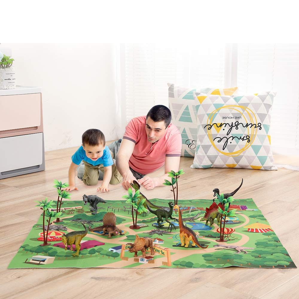 TEMI Dinosaur Toy Figure w/ Activity Play Mat & Trees, Educational Realistic Dinosaur Playset to Create a Dino World Including T-Rex, Triceratops, Velociraptor, Perfect Gifts for Kids, Boys & Girls by TEMI (Image #4)