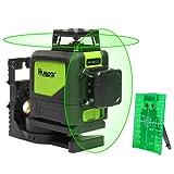 Huepar Self-Leveling 360 Laser Level - Mute Levelsure 902CG Green Beam 150 Ft Vertical Horizontal Line with Magnetic Pivoting Base, 2 Full-time Pulse