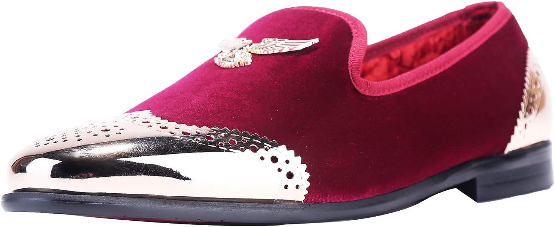 ELANROMAN Men's Loafers Gold Buckle Wedding Party Prom Velvet Dress Shoes