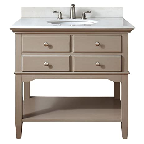 Pegasus Cannes 36 In. Vanity In Distressed Grey With Marble Vanity Top In  White With