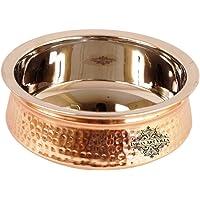 Indian Art Villa Steel Copper Serving Handi Bowl, for Serving Indian Dishes, Silver & Copper