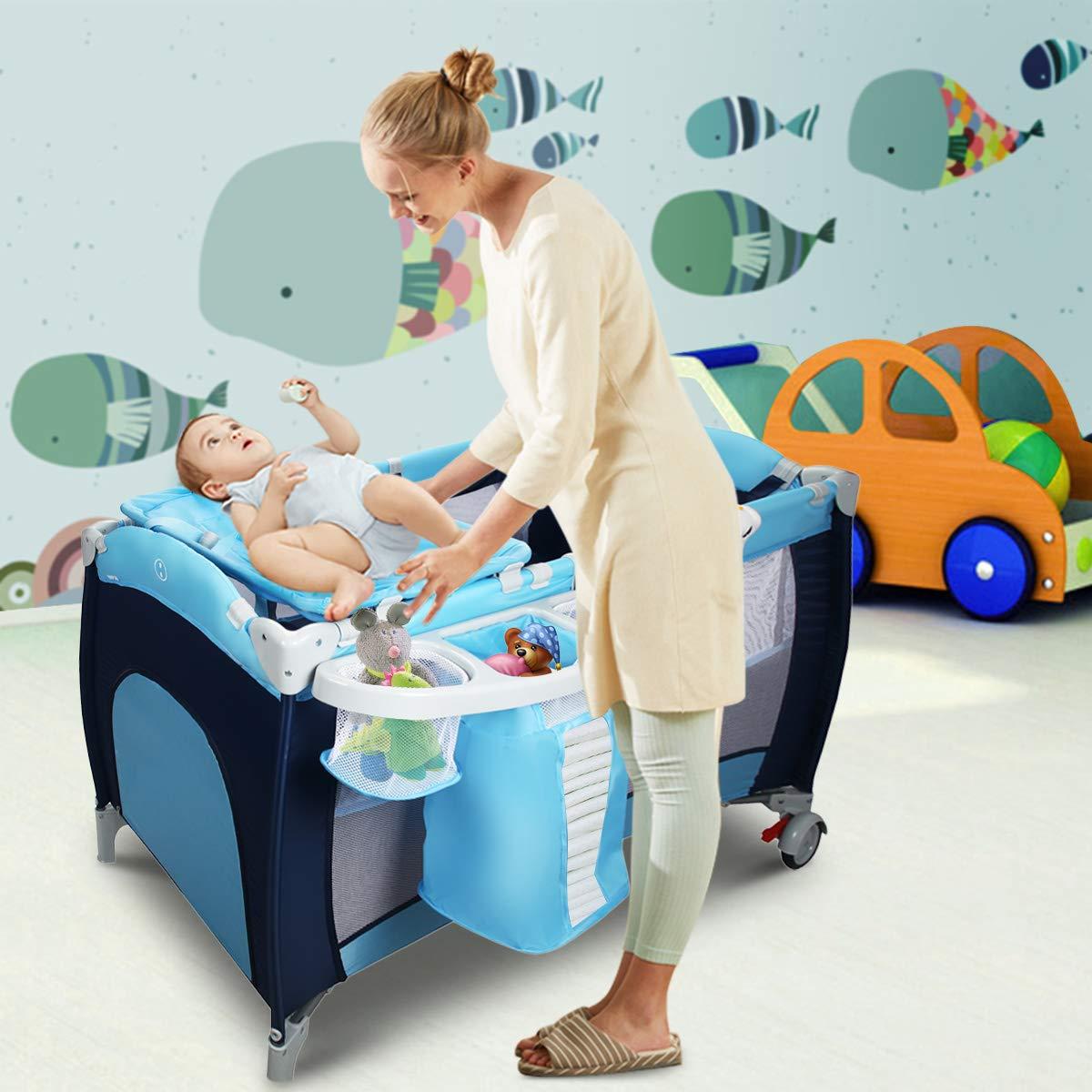 Blau GOPLUS Kinderreisebett Reisebett Klappbett baby Kinderbett Babybett Baby Klappbett faltbar farbwahl mit Tragetasche