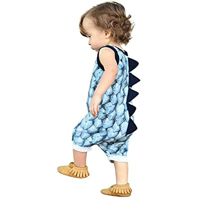 Mini honey Infant Toddle Baby Boy Girl Dinosaur Print Sleeveless Romper Jumpsuit Summer Palywear Outfit Clothing