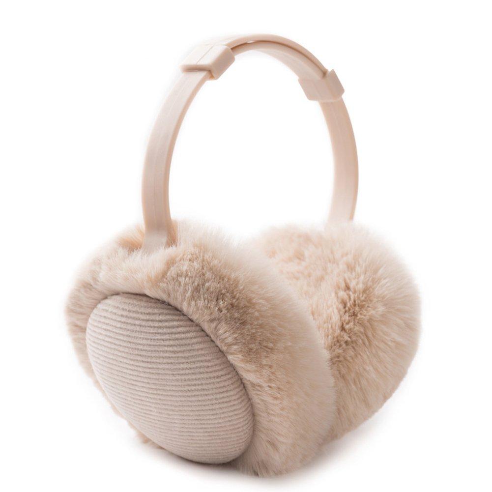Women's Winter Warm Earmuffs Thickened Adjustable Plush Ear Cover Keep Ears Warm (Beige)