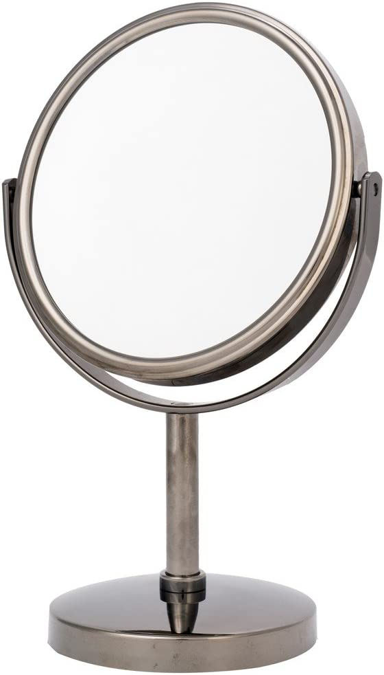 Danielle Two-Sided 5X Magnification Round Vanity Mirror, Gun Metal