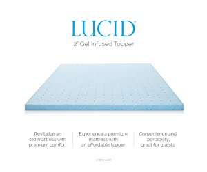 Lucid 2-Inch Gel Infused Ventilated Memory Foam Mattress