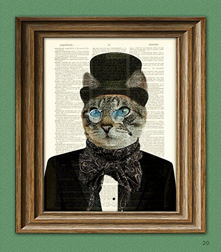 Dr. Barnabas Claw Victorian CAT gentleman with top hat bow tie scarf and nose glasses upcycled dictionary page book art print doctor Cat Hat Art