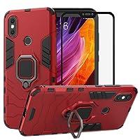 BestAlice Funda para Xiaomi Mi A2 Lite/Redmi 6 Pro Case Protector de Pantalla de Cristal Templado, Híbrida Rugged Armor Choque Absorción Protección Dual Layer Bumper Carcasa con Pie De Apoyo, Rojo