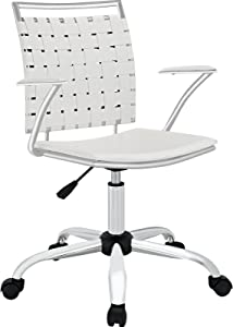 Modway Fuse Webbed Back Faux Leather Adjustable Office Chair in White