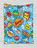 asddcdfdd Superhero Tapestry, Famous Comic Strip Speech Balloons Icon Chat Scream Magazine Signs Pop Graphic, Wall Hanging for Bedroom Living Room Dorm, 60 W X 80 L Inches, Multicolor