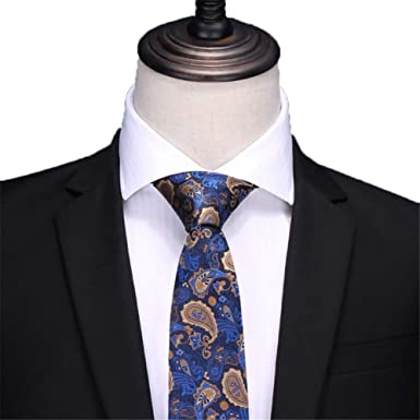 CHAOBAOBAO Vestido De Corbata De Seda Azul Para Hombre/Negocio ...