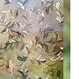 Rabbitgoo Frosted Privacy Window Film Decorative Laser Leaf Static Cling Glass Film, 17.5in. By 78.7in. (44.5x200CM), Brown