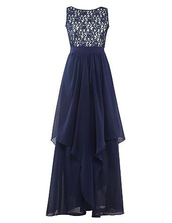 GlorySunshine Scoop neck Sleeveless Waist Chiffon Lace Short Evening Dress