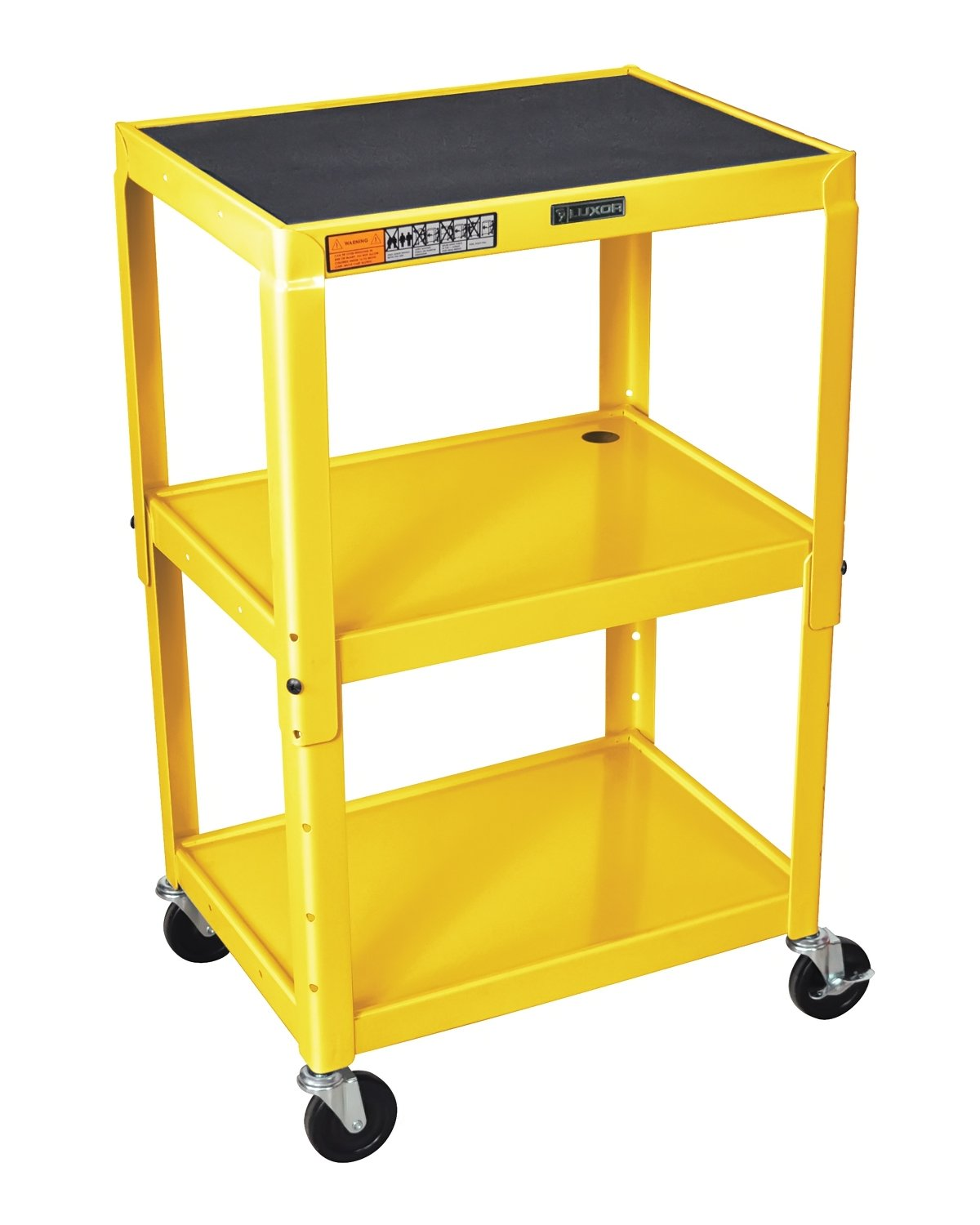 Luxor AVJ42-YW Adjustable Height 3 Shelves Steel AV Cart, Yellow