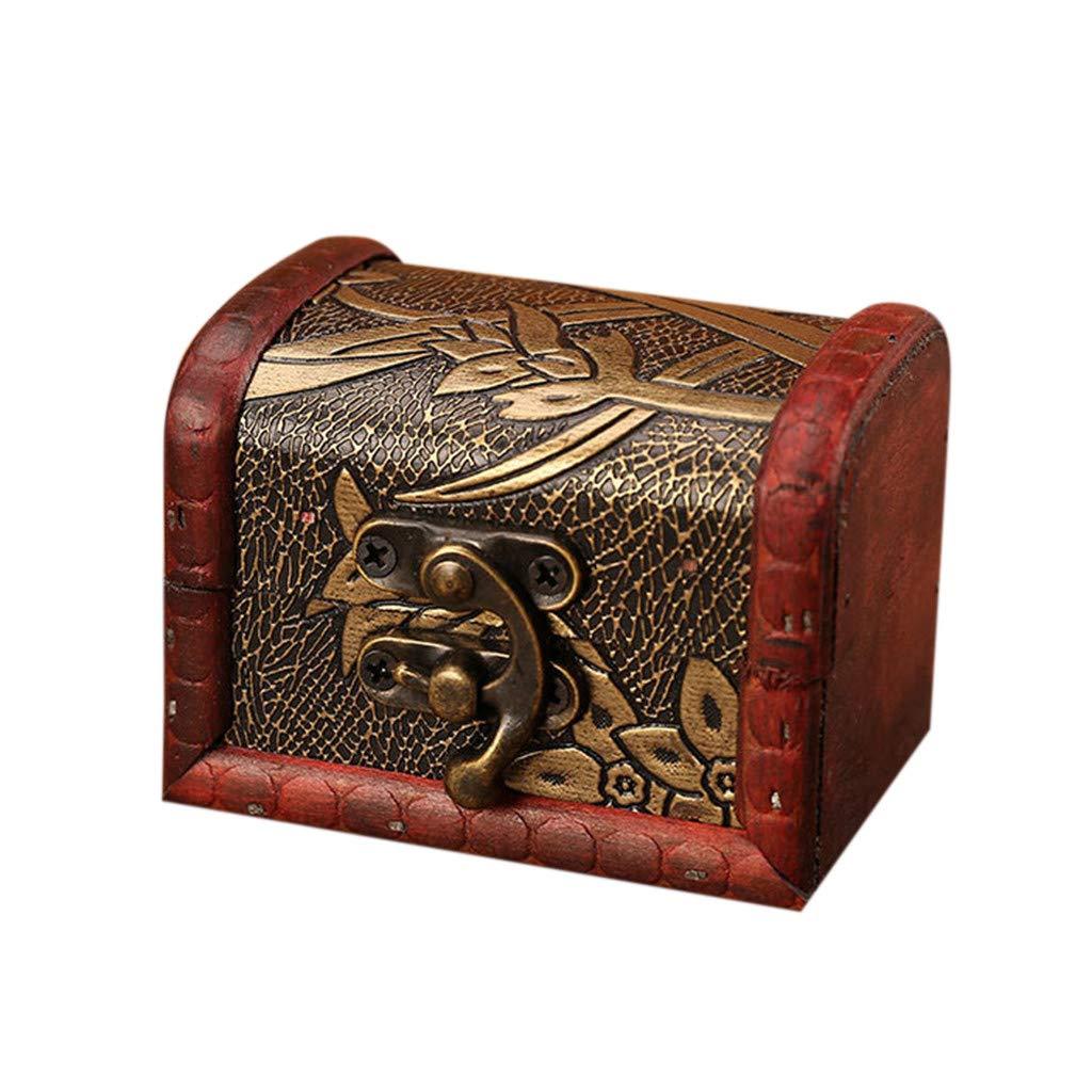Icocol Jewelry Box Vintage Wood Handmade Retro Organizer with Mini Metal Lock for Storing Jewelry Treasure Pearl Space Saver