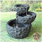 MP Essential Garden Outdoor Solar Powered 3 Layer Grey Stone Rocks Water Fountain