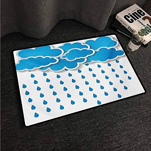 HCCJLCKS Welcome Door mat Rain Trippy Convective Cloud Group Figures Like Savannah Forecast Drips Theme Autumn Rain Super Absorbent mud W35 xL47 Blue White
