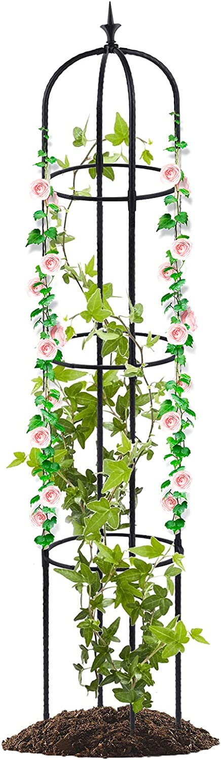 Tower Garden Trellis Obelisk Plant Support for Climbing Vines and Flowers Stands Indoor Potted Plant (61 inch)