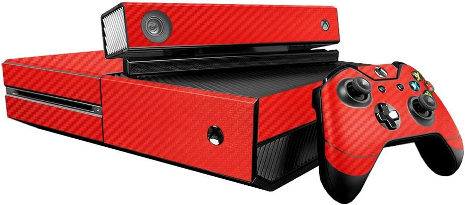 3D Carbon Fiber Fire Red - Air Release Vinyl Decal Faceplate Mod Skin Kit for Microsoft Xbox One (XB1) Console by System Skins