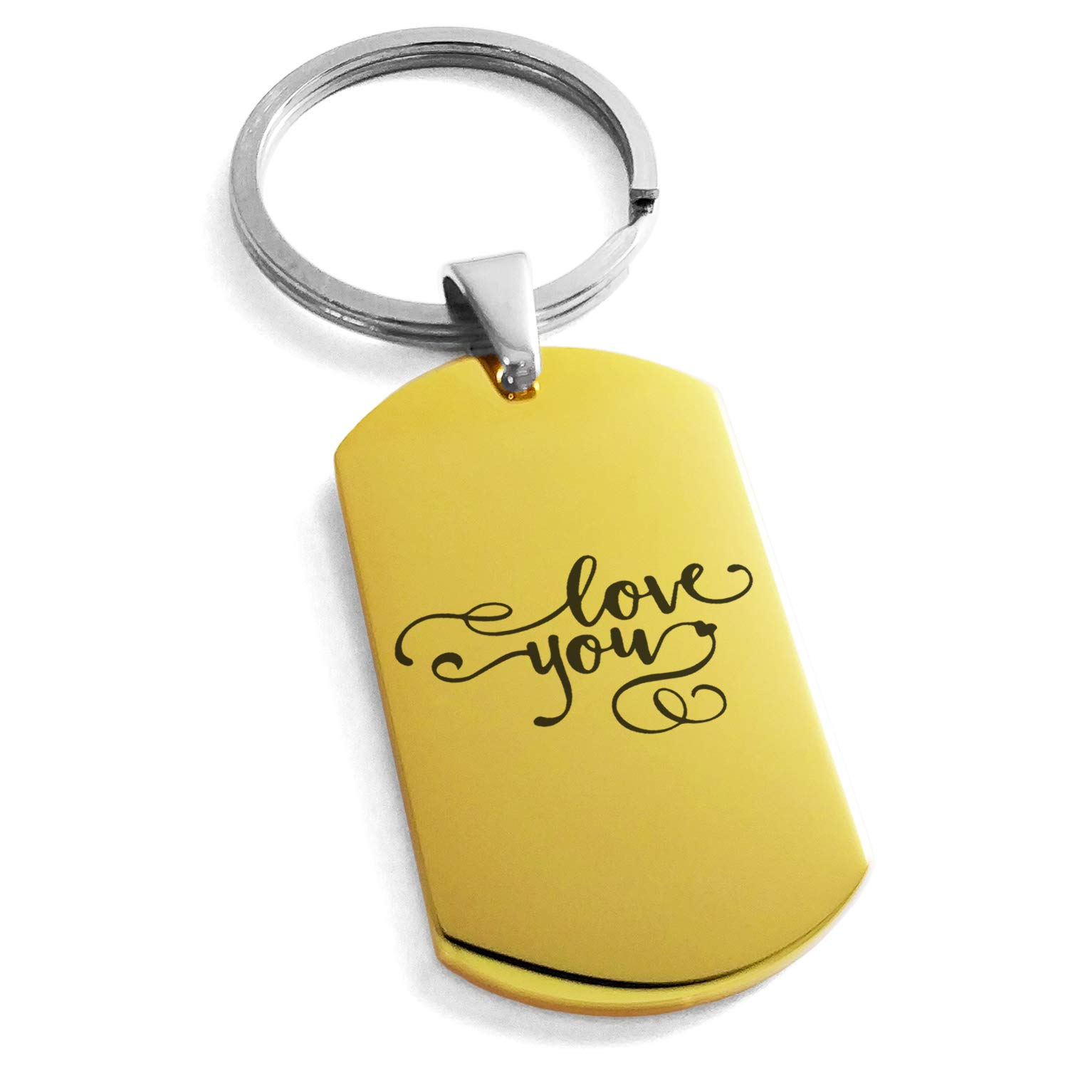 Tioneer Gold Plated Stainless Steel Love You Calligraphy Swirl Engraved Dog Tag Keychain Keyring