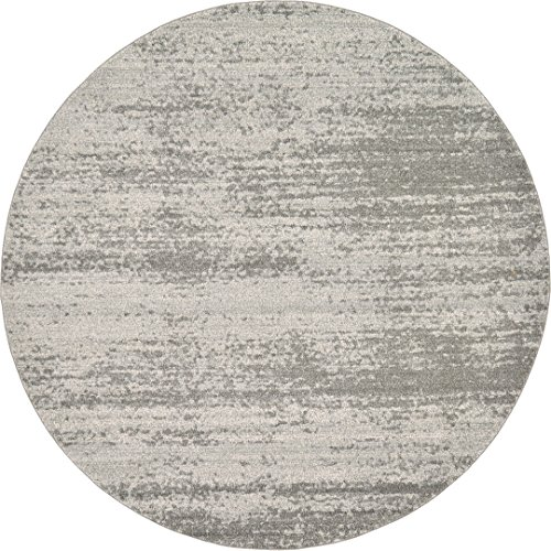 Over-dyed Modern Vintage Rugs Gray 8' FT Round Palma Collection Area Rug - Perfect for any Place (Round Large Rugs Area)