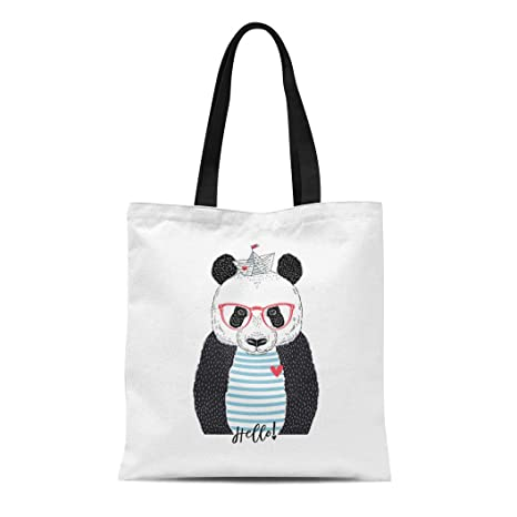 754de43f788d Amazon.com: Semtomn Cotton Canvas Tote Bag Navy Sketch Cute Panda ...