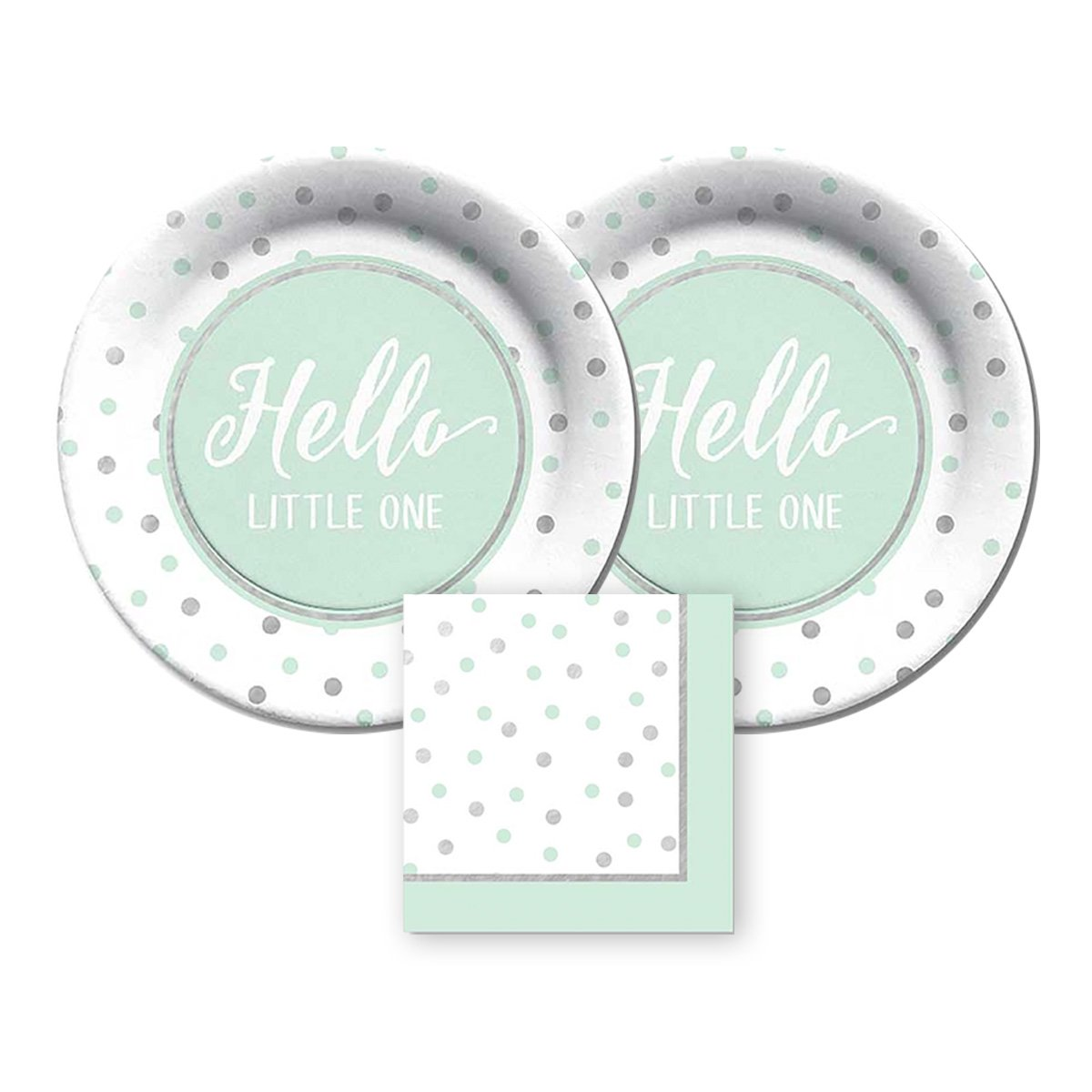 CR Gibson Hello Little One by gebracht Pappteller und Servietten, bundle- 3 Elemente mintgrün