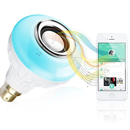 BWL Music Light Bulb - Bluetooth Speaker with B22 led light bulb –Changing Color Lamp Built with Remote Control for Home, Stage, Party Decoration