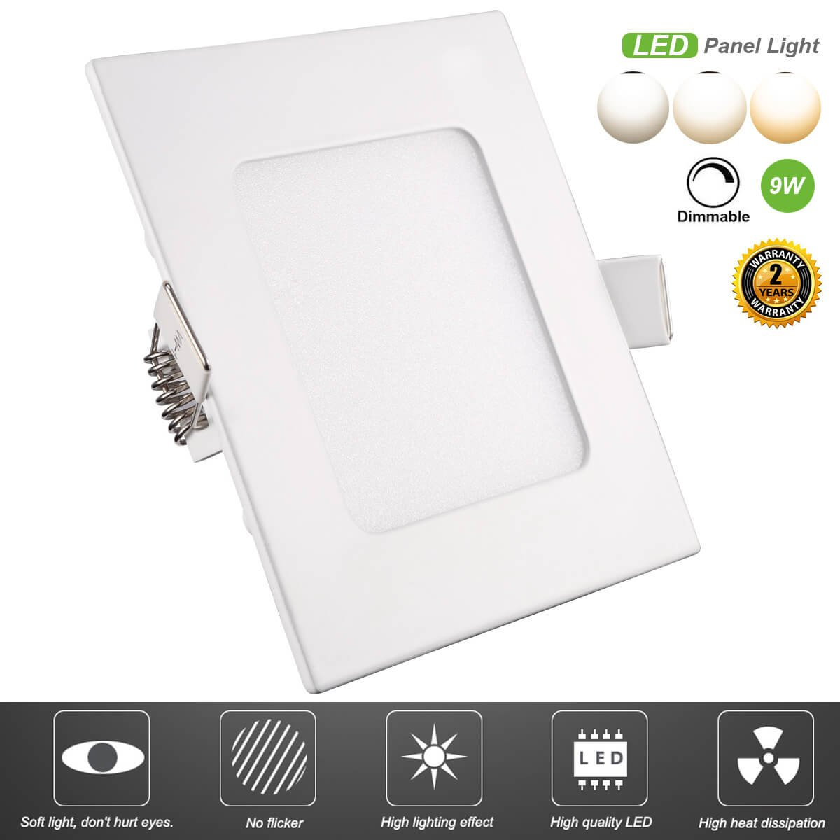 ProGreen LED Panel Light Fixture, 9W Dimmable Square Ultra-thin LED Recessed Ceiling Down Light Flat Lamp, 720lm, Warm White 3000K, Cut Hole 5.0 Inch, with 110V LED Driver