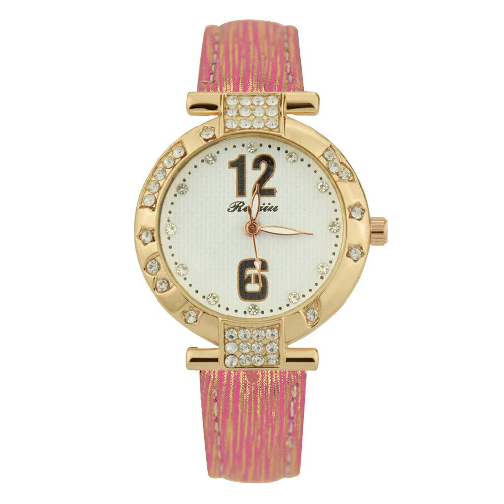 Starry Sky Watch for Women, Crystal Dial Analog Quartz Wristwtach with Suede Pu Leather Band BravetoshopLS-25(Pink)