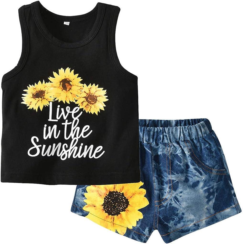 Little Girl Princess Sets,Jchen Baby Kids Little Girl Sunflower Print Sleeveless Tops+Denim Shorts Casual Outfits for 0-4 Y