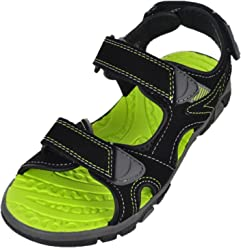 Khombu Boys River Sandal Black/Neon Green