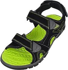 Khombu Boys River Sandal Black/Neon Green