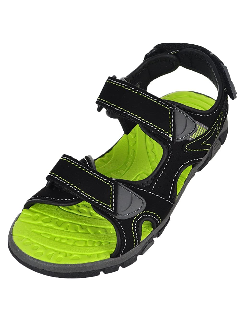 Khombu Boys' River Sandal Black/Neon Green