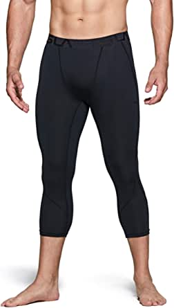 TSLA (Pack of 1, 2 Men's 3/4 Compression Pants, Running Workout Tights, Cool Dry Capri Athletic Leggings, Yoga Gym Base Layer