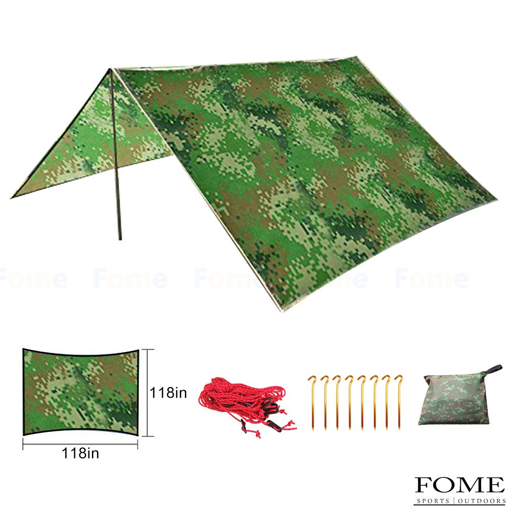キャンプタープ、Fome防水ポータブルアウトドアタープオーニング窓サンシェードカバーテントShelterキャンプシェルター雨のサバイバルタープハンモックタープキャンプマットwithポーチハイキング、バックパッキング、旅行( 108 x 108in ) B0756ZT6GW  Digit camouflage