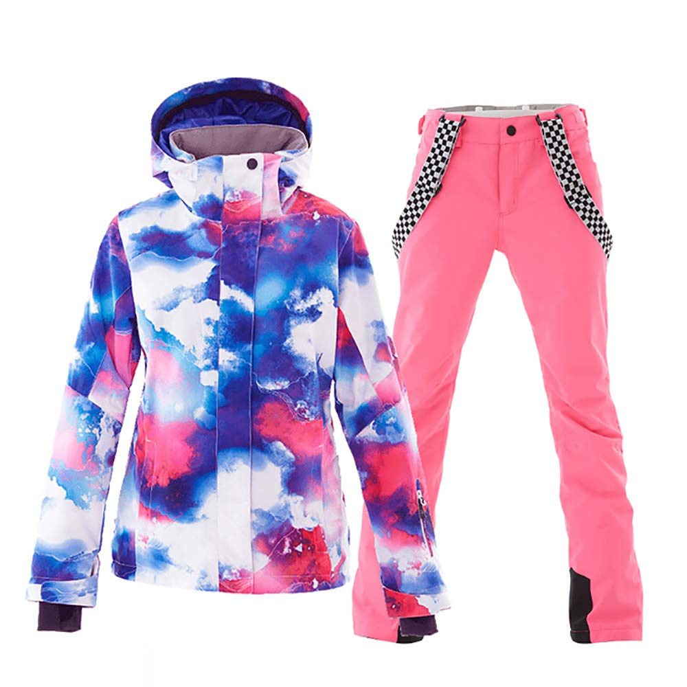 color2+pink Mous One Women's Waterproof Ski Jacket colorful Snowboard Jacket and Bib Pant Suit