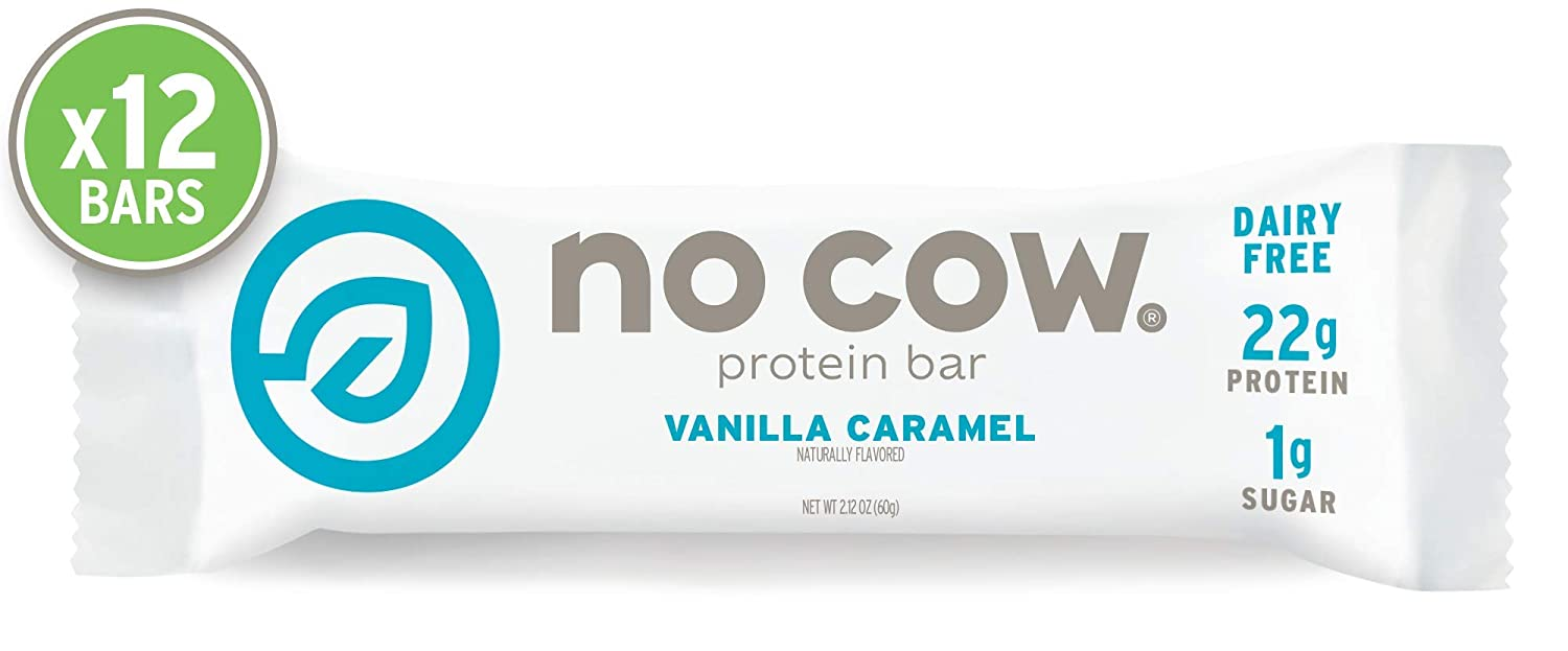 No Cow Protein Bar, Vanilla Caramel, 22g Plant Based Protein, Keto Friendly, Low Carb, Low Sugar, Dairy Free, Gluten Free, Vegan, High Fiber, Non-GMO, 12Count