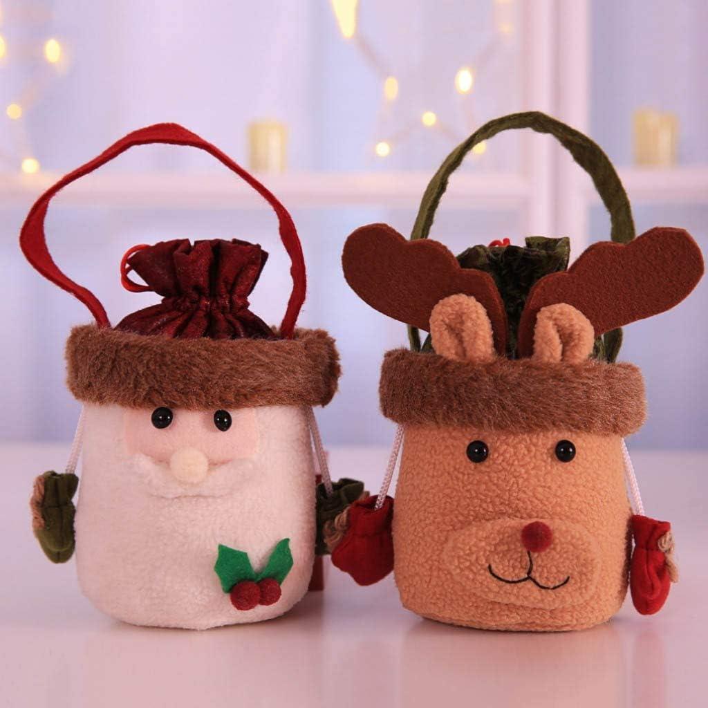 TLoowy-Clearance Christmas Apple Bag Children Candy Bag Gift Bag Blessing Bag Xmas Party Decoration Portable Drawstring Handbag Cute Cartoon Snowman Santa Claus Deer Bucket Bags B