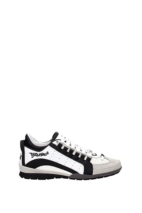 Scarpe Uomo Sneakers DSQUARED2 551 Vitello Sport Tessuto Tecnico Bianco  Nero ITA 54b86b5d779f
